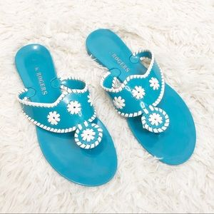 Blue white Jack Rogers plastic jelly sandals Sz 6